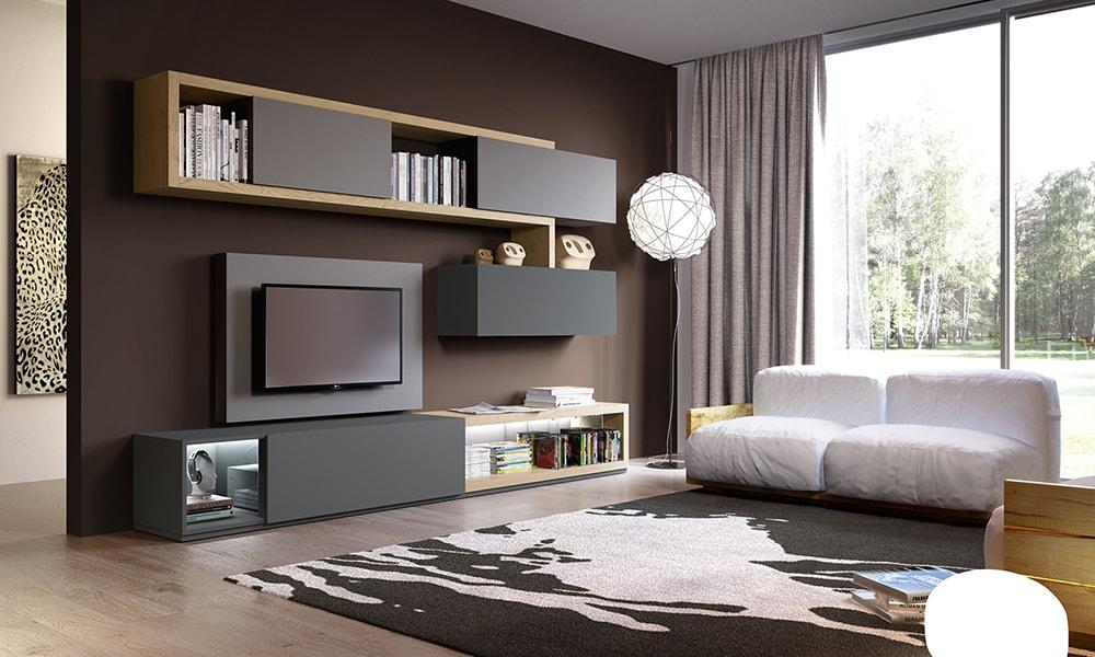 Soggiorno con contenitori sospesi astor mobili for Mobili tv moderni
